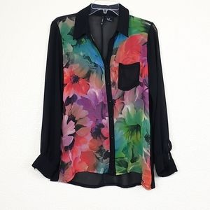 New Directions  sheer floral top